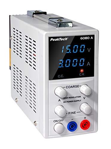Peaktech P 6080 A - Fuente de alimentación para laboratorio (0-15 V, 0-3 A)