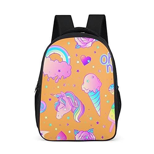 Mochila escolar para niños pequeños, arco iris, unicornio, naranja, mochila para niños, mochila de gran capacidad, mochila de senderismo, para niños y niñas 3-12