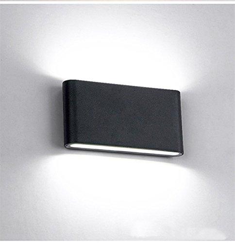 Glighone Applique Murale Intérieur Moderne LED 12W Up Down en Aluminium Lumière Décoratif pour Chambre Jardin Terrasse Guinguette Couloir Restaurant Noir Blanc Froid