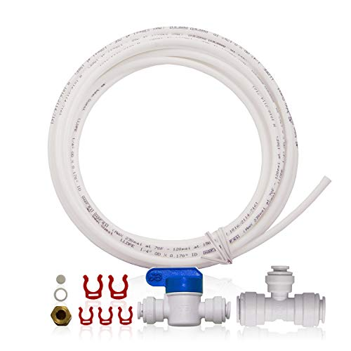 """A Ice Maker Installation Kit For Upgraded 3/8"""" Output Reverse Osmosis Systems, Refrigerator and Water Filters, White - APEC Water Systems ICEMAKER-KIT-38-14-RO"""