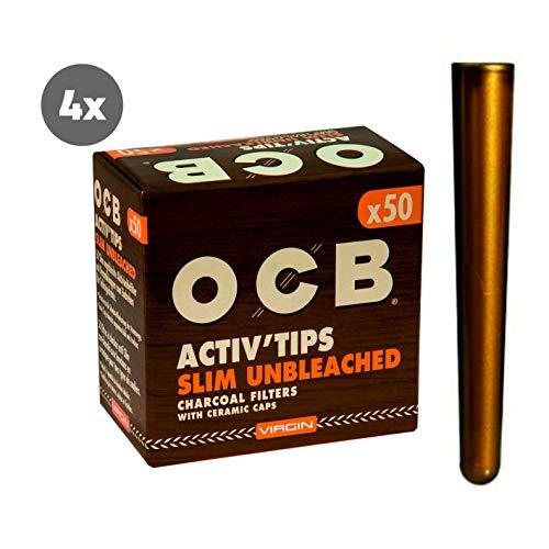 Kogu OCB Activ Tips Slim Unbleached - Filtro ai Carboni Attivi da 7 mm, con Custodia, 4X 50er