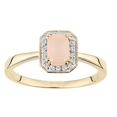 Naava Women's 9 ct Yellow Gold Round Diamond and Pink Opal Ring, Size J