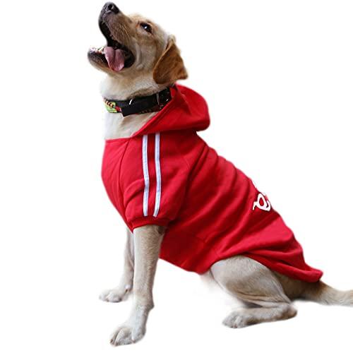 Eastlion Ropa Perro Grande,Cálido Sudadera con Capucha para Perros Algodón Suéter Chaqueta Abrigo Costume Pullover para Mascota Perro Gato (Rojo,6XL)
