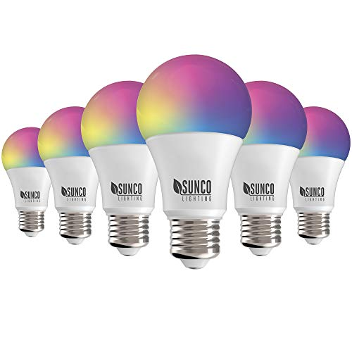 Sunco Lighting 6 Pack WiFi LED Smart Bulb, A19, 6W, Color Changing (RGB & CCT), Dimmable, 480 LM, Compatible with Amazon Alexa & Google Assistant - No Hub Required