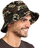 Bucket Sun Hat for Men & Women - UPF 50 UV Protection Packable Summer Fisherman Cap for Fishing, Safari, Beach & Boating Army Camo