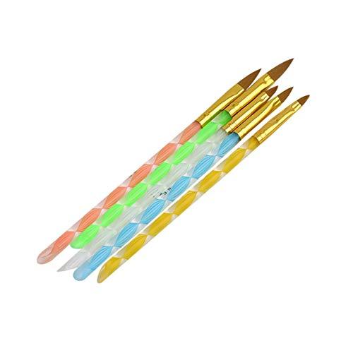 5 stücke Nail art Design DIY Acryl PVC + Metall Stift Pinsel Malerei Zeichnung Streifen Striping Malerei Set