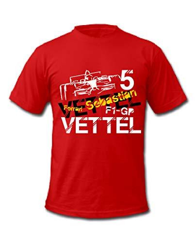 Cold Gun F1 Sebastian Vettel Formel 1 Racing Driver T-Shirt Gr. L, rot