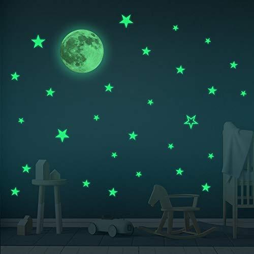 Glow In the Dark Stars & Moon Wall Stickers – Baby Room Decor Sticker - Wall Stickers For Kids- Boy & Girl Room Sticker – Home Decor Wall Sticker– 30 cm Moon and 28 pcs Stars
