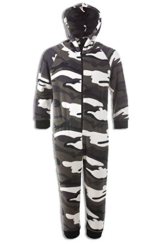 Camille Childrens Snow Camouflage Supersoft Fleece Zip Front Hooded Onesie, Grey, 12-14 Years