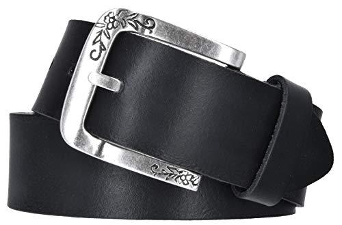 Mytem-Gear Damen Gürtel Leder Belt Ledergürtel Rindleder 40 mm Damengürtel kürzbar (105 cm, Schwarz)