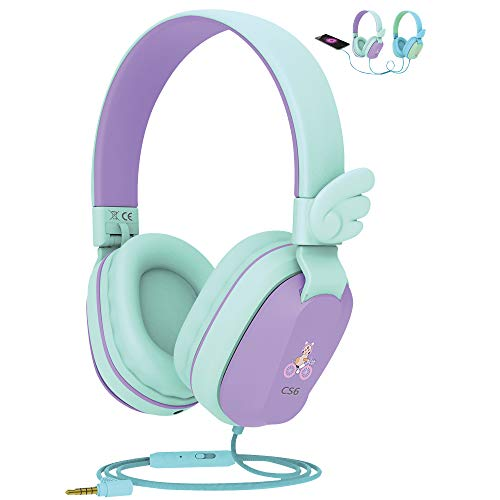 Kids Headphones, Riwbox CS6 Lightweight Foldable Stereo Headphones Over Ear Corded Headset Sharing...