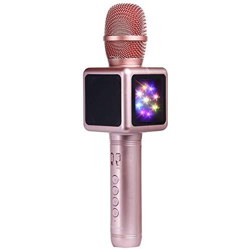 Kids Karaoke Micrófono con Luces para Niñas Regalos De San Valentín Alluminum Alloy USB TF Record Youtube Karaoke Microphone para iPad,A