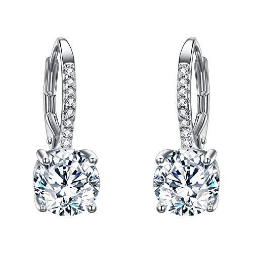 EVER FAITH Women's 925 Sterling Silver Full Zircon Fashion Round Drop Leverback Dangle Earrings Clear