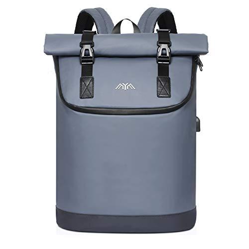 SUEBEKUE Rucksack Herren, Rucksack Rolltop mit 17 Zoll Laptopfach & USB Ladeanschluss, Laptop Rucksack,Wasserdichter Daypack für Schule, Reisen,Arbeit,Business