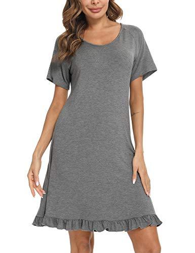 Aibrou Camisón Mujer, Camisones para Mujer Mangas Cortas Camison de Algodon Modal Camisón para Mujer con Dobladillo con Volantes, Camisones de Mujer Pijama Vestido per Hogar Casual