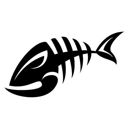 Chase Grace Studio Skeleton Fish Bone Fish Tribal Fish Fishing Boating Vinyl Decal Sticker|Black| Cars Trucks SUV Boat Kayak Laptop Tablet Wall Art|5.5' X 3'|CGS101
