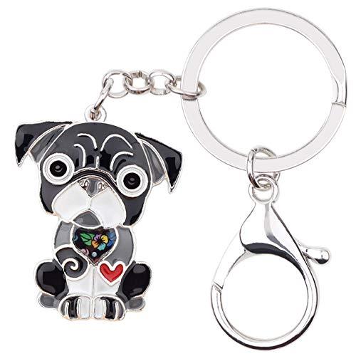 WEVENI Enamel Alloy French Bulldog Pug Dog Key Chains Keychain rings Jewelry For Women Girls Bag Car Pendant (Grey)