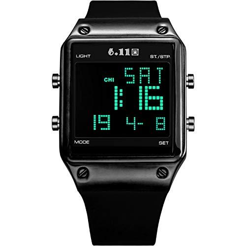 JSDDE Uhren Fitness Armbanduhr LCD Digital Uhrwerk Kalender Stoppuhr Wasserdicht Multifunktionsuhr Silikon Band Sportuhr mit Gebrauchsanweisung (Schwarz)