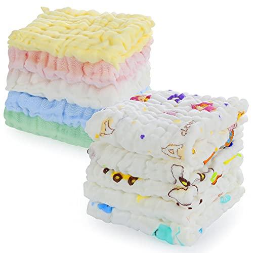 Comius Sharp Toallitas de Muselina para Bebés, 10 Piezas Algodón Toalla Facial para Recién Nacidos, Toallas Bebe Algodon Ideal para Piel Alérgica Niños, Toallas Suaves 30 X 30 cm