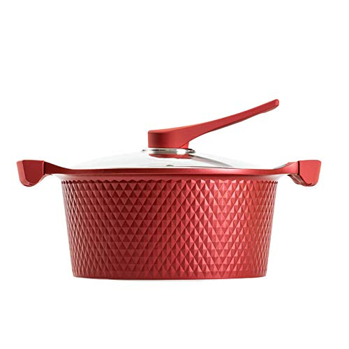 Non-Stick Pan Te Stellen Dual Use Soup Pot Steamer Fornuis Inductie Kookplaat Voor Huishoudelijke Stoofpot Pan,Red