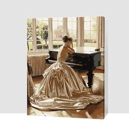 Vintage Canvas Muurschildering Olieverf Poster Olieverf Canvas Art Schilderen Piano Meisje 70x90 cm Frameloze