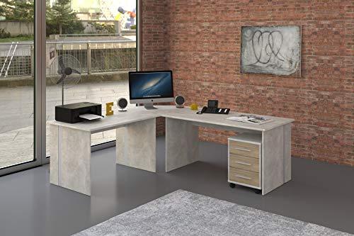 Möbel Pracht Schreibtisch Eckschreibtisch Gaming Tisch [Große Arbeitsfläche] Bürotisch Tisch PC Arbeitstisch Winkelschreibtisch ca.: 229,3 cm x 199 cm - 4 teilig in Beton/Weiß | Büromöbel