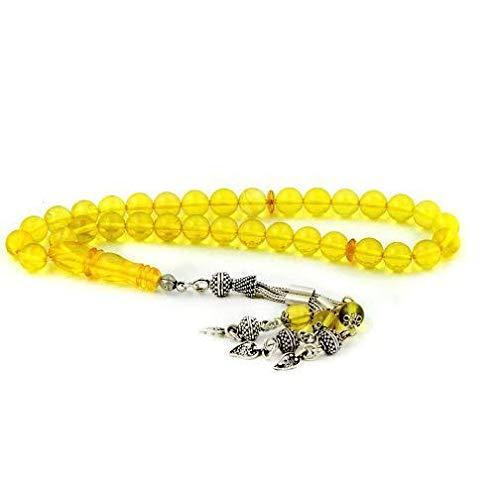 Plata amarillo ámbar piedra preciosa rosario esfera corte rosario orgánico oración rosario plata hombres borla turco Tasbih hecho a mano borla de plata