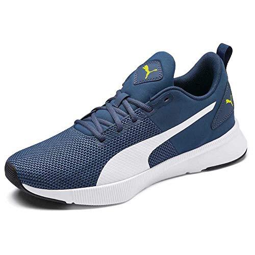 PUMA Unisex Adult Flyer SoftFoam+ Running Shoes Dark Denim-Yellow Alert White 4 Kids UK (19225721)