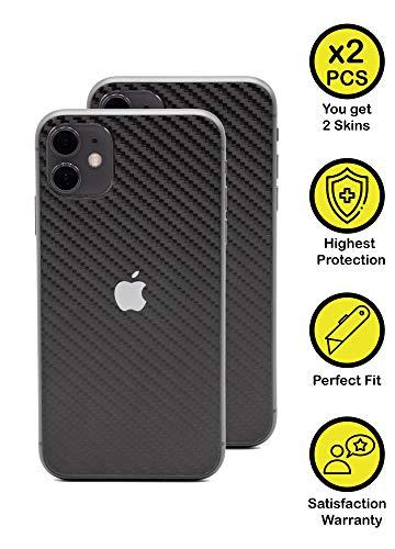 Normout iPhone 11 Skin Schutzfolie Rückseite Carbon Schwarz- 2X Backcover für iPhone 11 Rückseite, 2X iPhone Kamera Folie - Schützt vor Kratzern, Beschädigungen, Schmutz & Fingerabdrücken