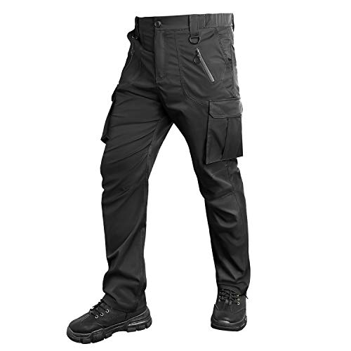 UNIQUEBELLA Men's Outdoor Work Military Tactical Pants Quick Dry Rip-Stop Causal Cargo Pants for Men Black