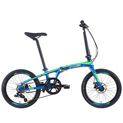Frauenfahrrad Klapprad Mode Arbeitsweg 8-Gang-Shift-Aluminium Rahmen 20-Zoll-Rad-Durchmesser 10 Sekunden Folding Doppelscheibenbremse Faltbares Herrenrad (Color : Blue)