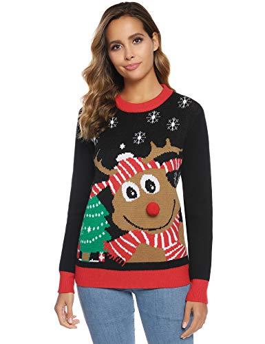 Abollria Suéteres Navideños de Punto para Mujer Sudadera y Jersey de Navidad...