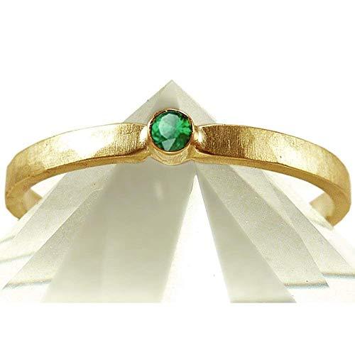 Verlobungsring Goldring mit Smaragd, Antragsring Beisteckring Vorsteckring - handgefertigt by SILVERLOUNGE
