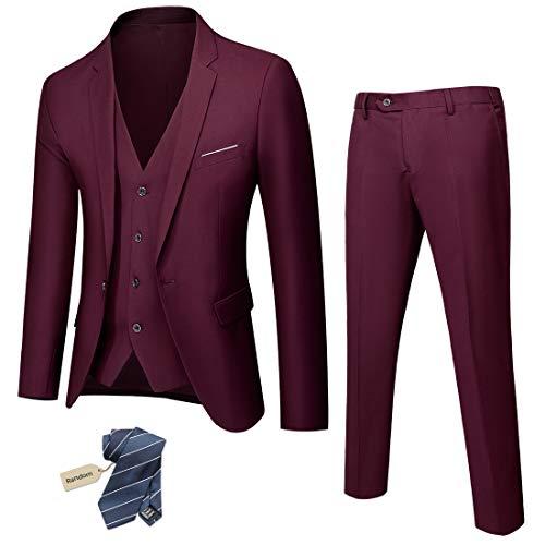 MY'S Men's 3 Piece Solid Suit Set, One Button Slim Fit Jacket Vest Pants with Tie, Deep Burgundy