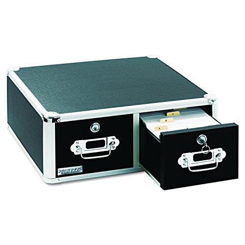 Vaultz Locking 3 x 5 Index Card Cabinet, Double Drawer, Black (VZ01393)