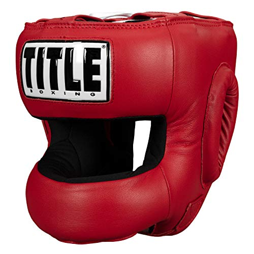 TITLE Boxing Face Protector Training Headgear, Red
