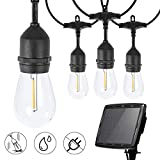 Brightown Solar String Lights Outdoor, 34Ft Patio Lights Weatherproof Strand with 15 Shatterproof LED S14 Bulbs, Solar & USB Charging with 4 Lighting Modes for Backyard Garden Café Porch Decor, 2700K