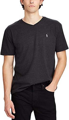 Polo Ralph Lauren Men's Classic Fit V-Neck T-Shirt Cotton ( XXL, Black Heather)