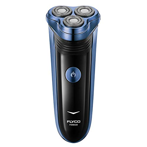 FLYCO Electric Razor FS362US, Rechargeable 3 Blade Dry Razor Electric with Pop-up Trimmer, Cordless, Blue