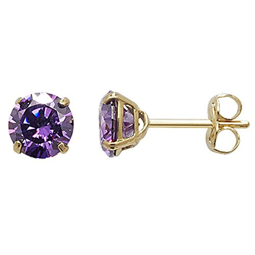 5MM CZ Round Cut Birthstone Stud Earrings - PURPLE AMETHYST or Choose From 12 Colours - 9ct Gold