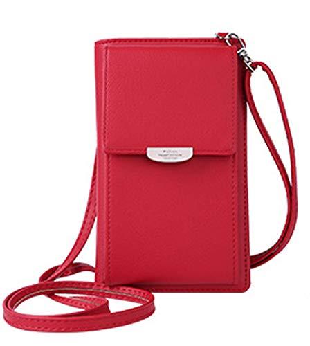 DNFC Damen Umhängetasche Kleine Handtasche Geldbörse Handy Tasche Portemonnaie Lang Geldbeutel PU Leder Geldtasche für Mädchen und Frauen (Rot)