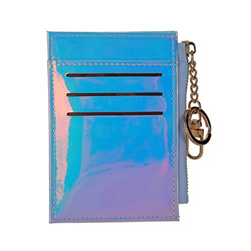 Fenical Geldbörse Holographic Mmni Wallets Kreditkarteninhaber mit Schlüsselanhänger