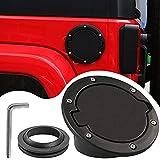 Gas Cap Fuel Filler Door Cover for 2007-2018 Jeep Wrangler JK & Unlimited Accessories Gas Fuel Tank Cap Cover   Aluminum   4-Door & 2-Door   Black