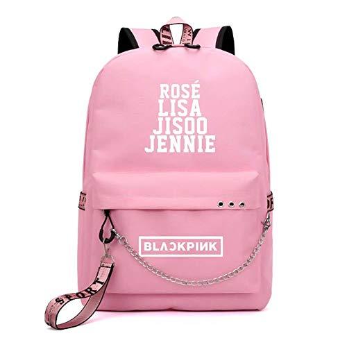 zhongjiany Kpop Blackpink USB Charging Backpack Lisa Rose Jisoo Jennie Travel Laptop School Bag(Pink)
