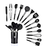 Uarter Kitchen Utensil Set 14pcs Silicone Cooking Utensils with Potato Masher for Cooking and Baking, Heat Resistant and Nonstick Spoon, Turners, Tongs, Whisk, Scraper