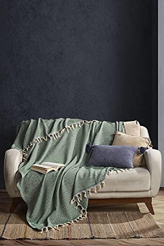 BOHORIA Tagesdecke Atelier Oriental extra groß 165x220cm | 100% Baumwolle | Überwurf für Sofa, Sessel & Bett | Kuscheldecke Sofadecke Wolldecke Wohndecke (Pine Green)