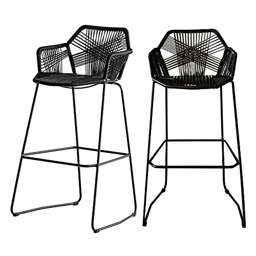 Taburetes de Barra 2 juegos de sillas de ratán, taburetes de barra tejidos a mano, silla con respaldo, taburete alto para patio con brazos, silla de comedor de cocina para el hogar, color negro