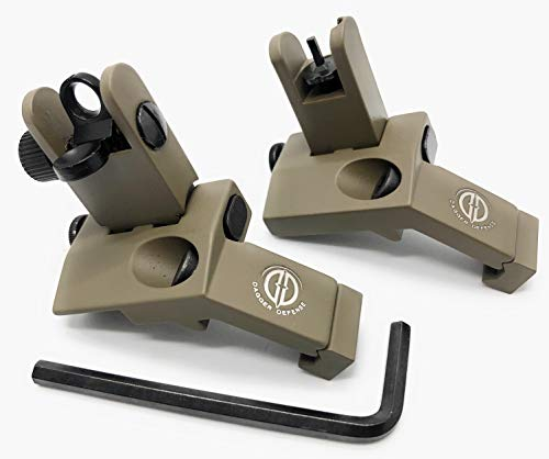 Dagger Defense -Combat Vet Owned Company- flip up BUIS 45 Degree Picatinny Rail Mounted Backup Iron Sights. (tan)
