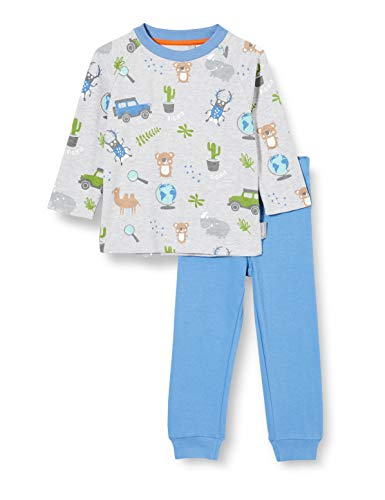 Sigikid Baby-Jungen Mini Pyjama 2-teilig aus Bio-Baumwolle, Größe 086-128 Pyjamaset, Grau/Blau, 98