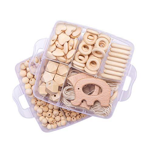 Mamimami Home 2PC Baby Holz Beißring Tier Rassel Bio Häkeln Perlen DIY Halskette Kautabletten Baby Dusche Geschenk Kinderkrankheiten Spielzeug